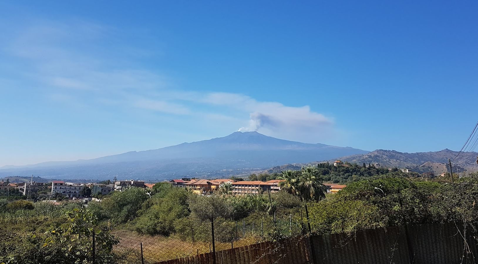 etna visible from surrounding of Taormina
