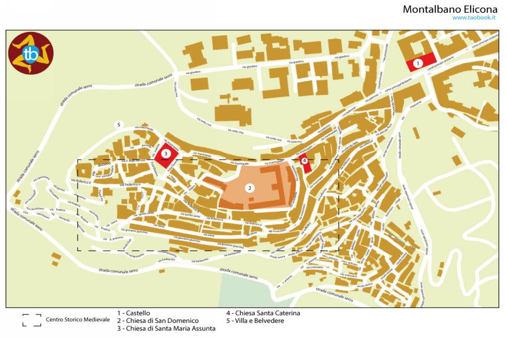 mappa montalbano elicona a4 cartacea