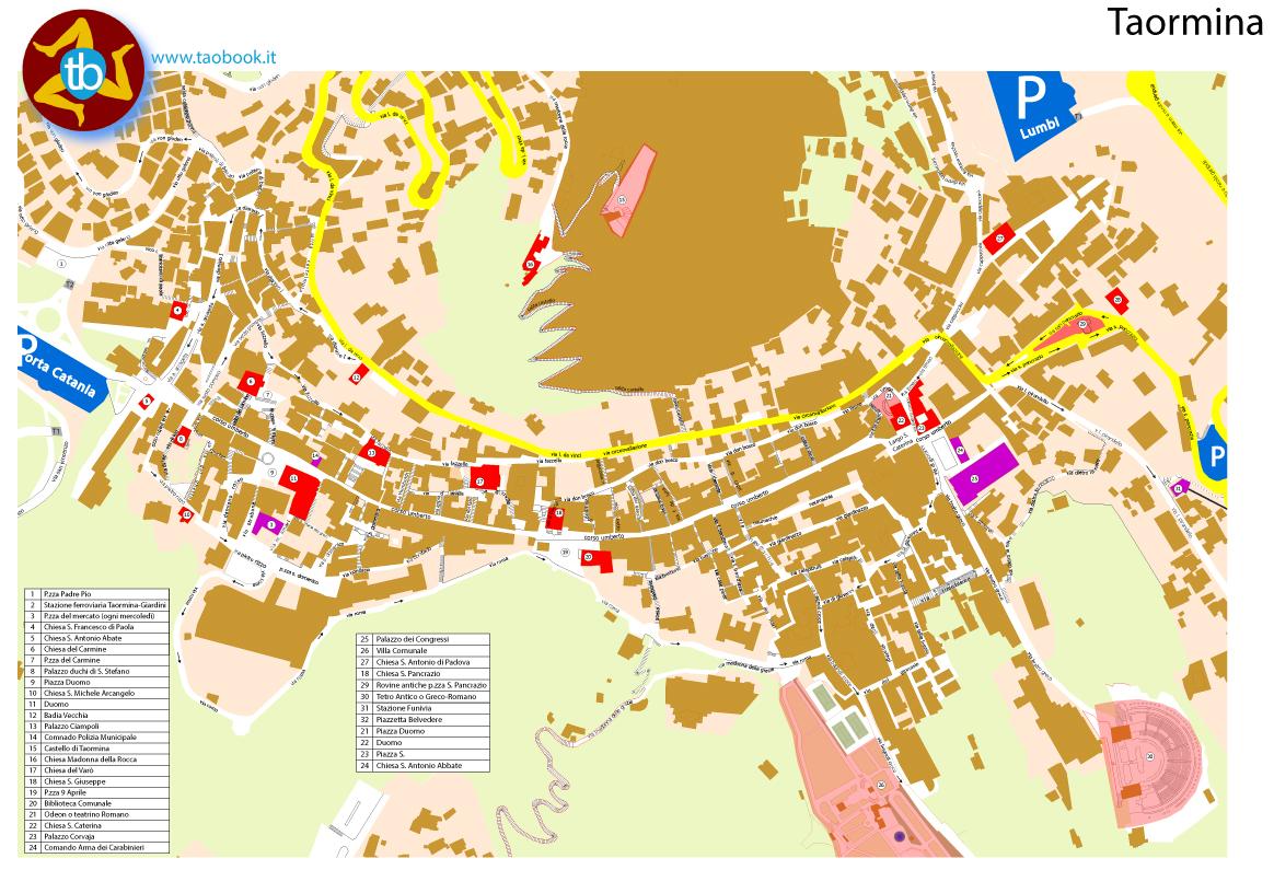mappa cartacea di taormina