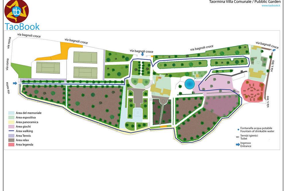 taormina villa comunale mappa cartacea a4