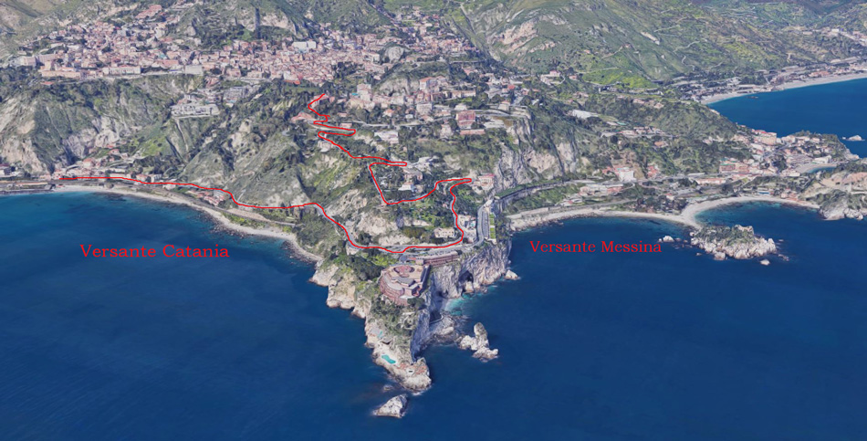 percorso da stazione taormina-giardini naxos a taormina villa comunale google 3d
