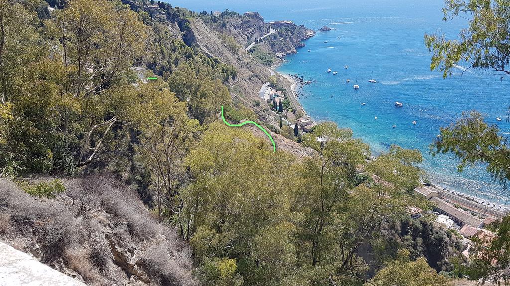 percorso visto da taormina