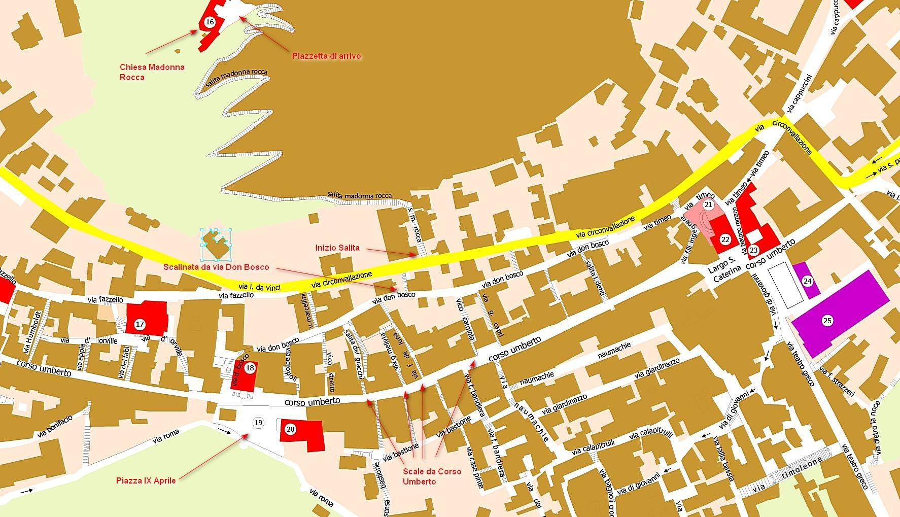 mappa taormina salita via castello