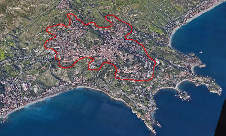 Taormina centro su mappa
